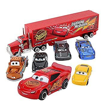 aijie 7 Pcs/Set Cars Truck 1 55 Cartoon Alloy Diecast Set Lightning McQueen Chariot Truck Model Classic Car with Container Truck Suit Toy Gift  NO.K1