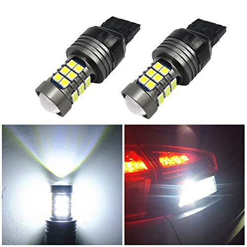 WLJH 2 pcs 7440 T20 LED Ampoules 12-24 V Super Lumineux 1000 Lumens 3030SMD Canbus sans Erreur de Remplacement pour Sauvegarde Arrière Tail Frein Clignotants