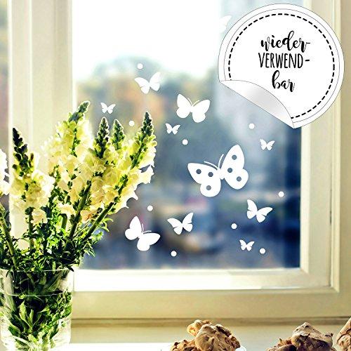 ilka parey wandtattoo-welt Fensterbild Schmetterlinge Set -WIEDERVERWENDBAR- Fensterdeko Frühling Fensterbilder Osterdeko M2348