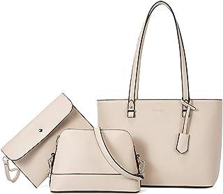 Damen Handtasche Set Shopper Groß Schultertasche Umhängetasche Geldbörse Damen Tasche Leder Handtasche Geschenk für Fraue...