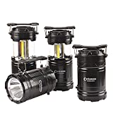 4 Pack Portable Outdoor COB Camping Lantern with LED Torch Flashlight, Water Resistant Collapsible Tent Light with Adjustable Hook for Hiking,Emergencies,Hurricanes,Outages(Batteries Not Included)