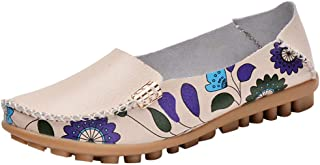 Respctful✿Women Flat Casual Loafers Soft Leather Round Toe Moccasins Wild Driving Flats Shoes