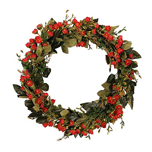 Janly Clearance Sale Simulation Fragrant Snowball Flower Wreath Garland Door Hanging Plant Decoration , Home Decor forHome & Garden , Easter St Patrick's Day Deal (Red)
