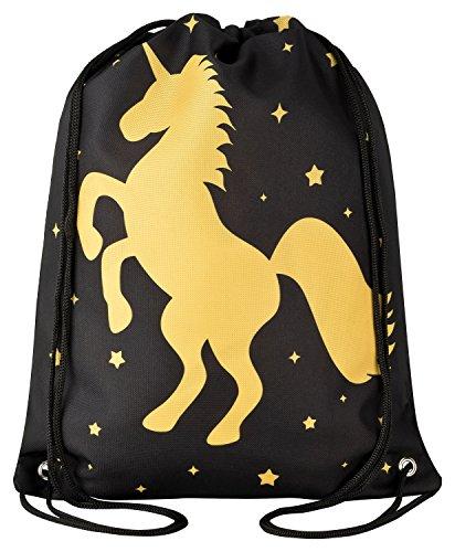 Aminata Kids - Kinder-Turnbeutel für Mädchen und Damen mit Unicorn Sache-n Pferd-e Haus-Tiere Einhorn Sport-Tasche-n Gym-Bag Sport-Beutel-Tasche schwarz Gold Stern-e edel Star