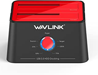 WAVLINK Base de Conexión Docking Station USB 3.0 a SATA Disco Duro Externo 2 Bahias, con Función de Offline Clon/Copia/UASP, para 2.5/3.5