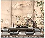 Fototapeten Wand Tapete Wohnzimmer Schlafzimmer-Japanische Ukiyo-E Blume Und Vogel Landschaft Restaurant Hot Pot Restaurant Sushi Restaurant Hintergrund Wand, 250 Cm X 175 Cm (98,4 X 68,9...