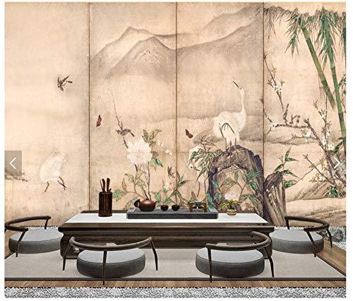 Murale Carta Da Parati Customization-Giapponese Ukiyo-E Fiori E Uccelli Paesaggio Ristorante Hot Pot Ristorante Ristorante Sushi Sfondo Muro, 400Cmx280Cm (157,5 X 110,2 In)