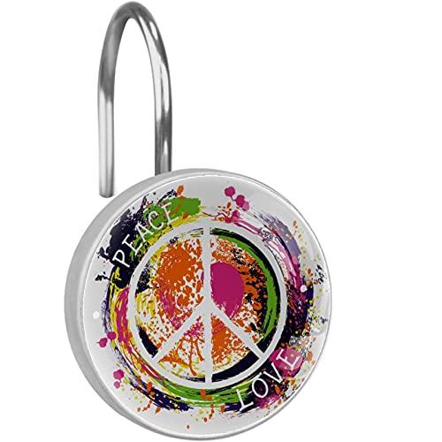 Ganchos de cortina de ducha decorativos de vidrio de 12 piezas,anillo de acero inoxidable a prueba de herrumbre redondo para cortinas de barra de ventana de baño,Hippie-Peace-Symbol-Love-Colorful Mano