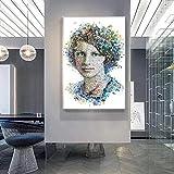 Geiqianjiumai Moderno Creativo mundialmente Famoso Retrato de Mujer póster e impresión Mural Lienzo decoración Pintura Sala de Estar Pintura sin Marco 30x40 cm