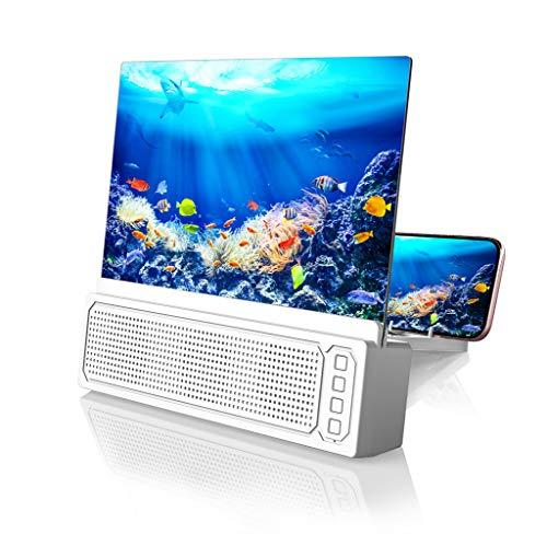 FZ FUTURE Bluetooth Spearker 3D HD Pantalla de teléfono móvil Magnifier Amplifier Película Video, Phone Cell Screen Screen Phone Proyector para Todos los Samrtphones Android and Teléfono,Blanco