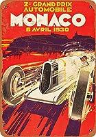 ユニークな壁の装飾、1930モナコグランプリヴィンテージ男洞窟ガレージサインバーサイン金属壁ティンサイン壁アートシンボルポインターデカール金属サイン