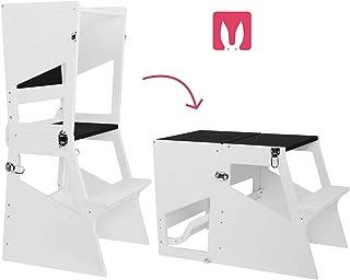Bianconiglio Kids ® Moka TRS Torre de aprendizaje Montessori acabado blanco mate, regulable en altura regulable en altura, convertible en mesa. 5 posiciones en 1 objeto