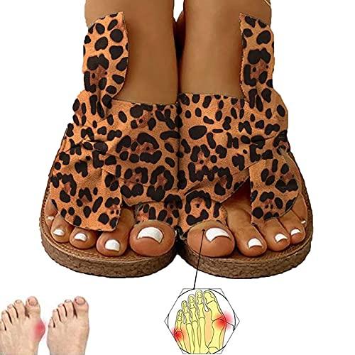 BTKD Sandales Plates Femmes Confortables Orthopedique Chaussures Plateforme 2020 Newest Été Sandales Femmes Sandales Plates Toe T-Sangle Comfy Semi Trailer Sandales Chaussures de Plage,Brown,38