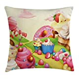 ice cream bar couch - Ambesonne Pink Throw Pillow Cushion Cover, Food Theme Tasty Landscape of Candies Cupcakes Lollipop and Ice Cream Print, Decorative Square Accent Pillow Case, 18