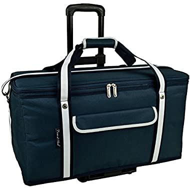 Picnic at Ascot Ultimate Travel Cooler with Wheels- 36 Quart - Combines Best Qualities of Hard & Soft Collapsible Coolers - Navy