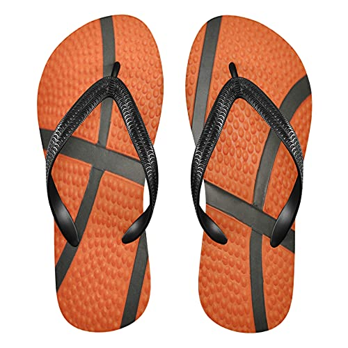 Mnsruu Black Liner Naranja Baloncesto Deporte Bola Flip Flops Flip Sandal Home Slippers Hotel Spa Dormitorio Viaje XXL para Hombres Mujeres