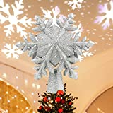 Christmas Tree Topper, Lighted Tree Topper with Rotating Snowflake LED Projector,...