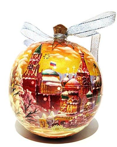 Moscow Red Square Kremlin Russian Christmas Sepia Wooden Keepsake Box Holiday Tree Ornament