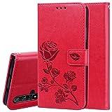 TANYO Hülle Geeignet für Huawei Nova 5T, Wallet Tasche Hülle, Retro Blumen Muster Design, Premium PU Leder Tasche Flip Wallet Hülle, mit Kartenfächern & Standfunktion. Rot