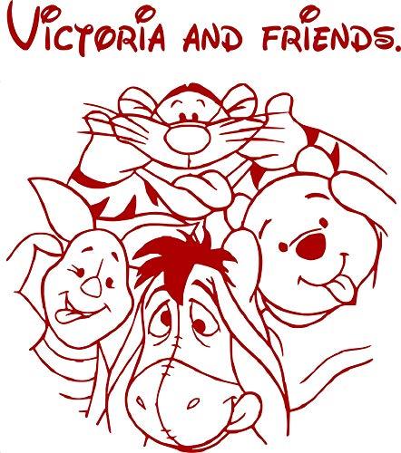 Sticker mural personnalisable pour chambre d'enfant - Winnie l'ourson et ses amis Porcinet, Bourriquet et Tigrou