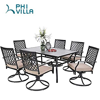 PHI VILLA Outdoor Patio Dining Set of 7 Metal Furniture Set, 6 Swivel Chairs with 1 Rectangular Umbrella Table for Patio Lawn Garden, Classic Black