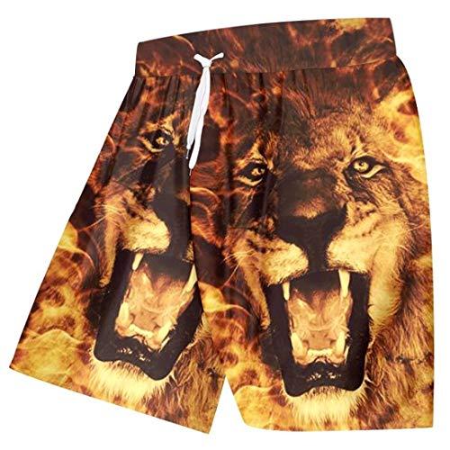 EDFLPUTB Fresco Unisex Beach de impresión Cortos Junta Llama Rey León 3D Bermudas Pantalones elásticos de la Cintura de los Boxeadores Flame Lion 4XL