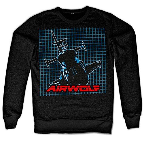 AIR-WOLF Airwolf Pattern Sweatshirt (Black), Large