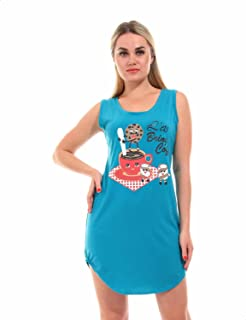 Andora Cookie and Coffee Print Round-Neck Sleeveless Nightgown for Women