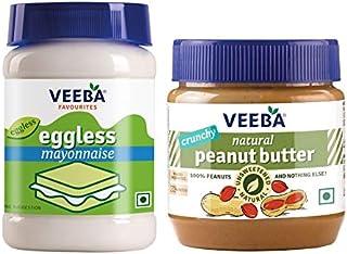VEEBA Breakfast - Eggless Mayonnaise, 250g & Natural Peanut Butter Crunchy - 340g Combo