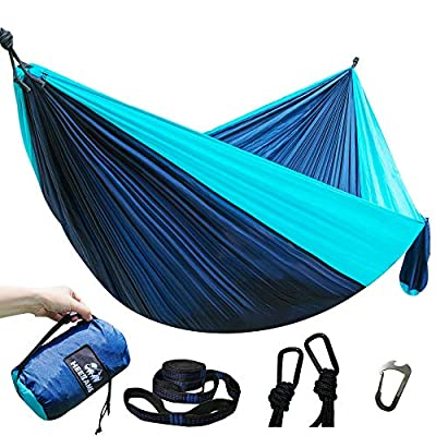 HEEKAME Double Camping Hammock,Portable Hammock with Tree Straps for Outdoor,Hiking,Camping,Travel,Backyard,Beach,Backpacking Survival…