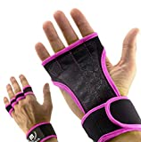 Mava Sports Workout Gloves with Wrist Wraps Support and Full Palm Silicone Padding - Perfect for Weight Lifting,Cross Training, Pull Ups, WOD and Powerlifting for Men and Women (Pink, Medium)