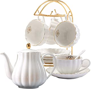 YoungQI Porcelain Tea Coffee Sets with Teapot Teaspoons 8 OZ Cups & Saucer Service for 4 (White set for 4)