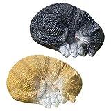 Bo 2 Unidades. Figura de Gato, 9 cm, decoración, Regalo, marrón,...