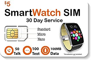 $5 Smart Watch SIM Card for 2G 3G 4G LTE GSM Smartwatches and Wearables - 30 Day Service