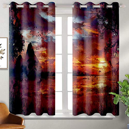 Price comparison product image June Gissing Scenery Decor 3D Pattern Print Curtain Home Decoration Ancient First Age Seemed View with Safari Wild Animals Gazelles and Forrest Image Soft Dark Curtains W52 x L63 Multi
