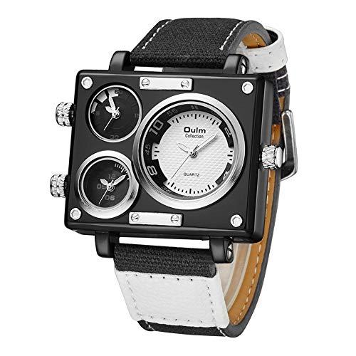 Oulm Sportuhren Mann Uhr männliche mehrfache Zeitzonenquadrat Uhr Luxusmarkenuhr mit Stoffband,White