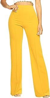 Pantalones Acampanados Mujer Pantalones Anchos Pantalones Fluidos Pantalones Elasticos Y Cintura Alta Pantalones Casual Comodo Elegantes Pantalones Vestir Elegantes Yvelands Ropa Ropa Premama