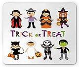 Alfombrilla de ratón de Halloween, Truco o Trato, Coloridos Disfraces de Halloween para niños, Esqueleto, Princesa, Vampiro, Bruja, Alfombrilla de Goma Rectangular Antideslizante, Multicolor estándar