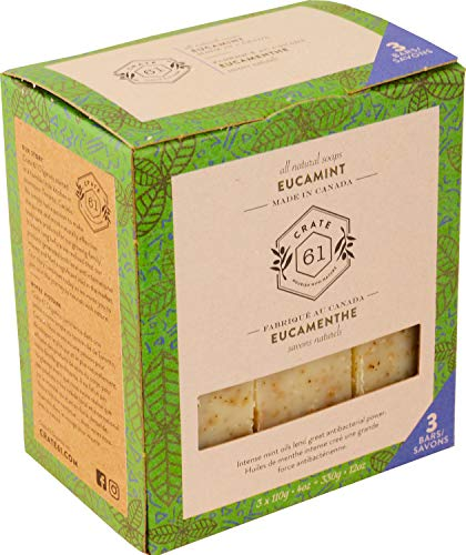 Crate 61 Eucamint (Eucalyptus & Peppermint) Soap 3 pack, 100% Vegan Cold Process, scented with premium essential oils, for men and women, face and body. ISO 9001 certified manufacturer