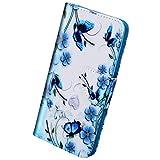 herbests case cover compatibile con samsung galaxy a10 custodia in pelle flip case colorata wallet cover con chiusura magnetica credit card slots portafoglio custodia,farfalla fiore