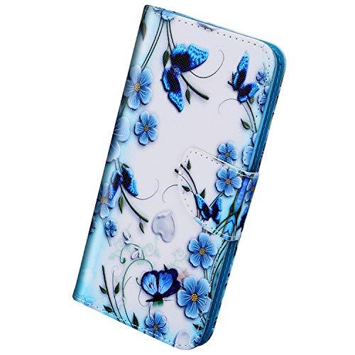 Herbests Kompatibel mit Samsung Galaxy A20e Hülle Leder Flip Case Handy Schutzhülle Ledertasche Klapphülle Brieftasche Handytasche kratzfestes Wallet Case Magnet Ständer,Schmetterling