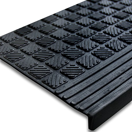 Antirutsch Stufenmatten aus Gummi mit Winkelkante   rutschhemmend für außen und innen   im 5er Set   Design Relief - 65 x 25 cm
