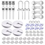 56 PCS Non Toxic Baby Proofing Kit, Child Safety Locks, Inclues Outlet Covers, Cabinet Locks for Babies Drawers with 3M Adhesive, Corner Protector, Sliding Cabinet Locks