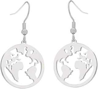 Stainless Steel Round Globe World Map Drop Earrings for Women Origami Earth Map Traveler Jewelry