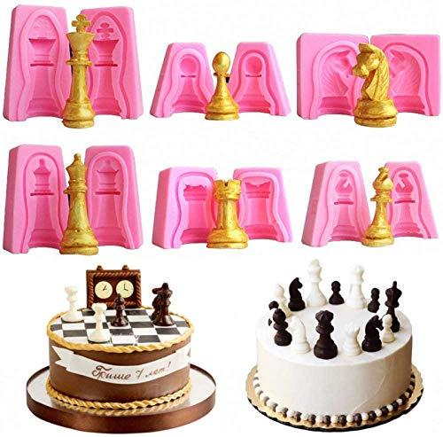 YIQIFEI Poliertes Glas SchachResin Gussformen 3D Schach Silikonform, 6er Set Internationaler Schach Silikon Kuchen Cupcake Fondant Dekorationswerkzeug Seifenharz Tonformen Backwerkzeug