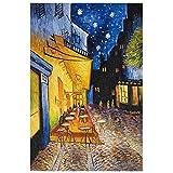 WXZJ Riproduzioni di Quadri su Tela, Poster E Stampe Immagine da Parete per Soggiorno - Famosa Terrazza del caffè Van Gogh di Notte,60x90cm