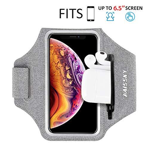 Sportarmband Mit Airpods Tasche Sportarmband Handytasche Sport für iPhone 11/11 Pro/XR/XS/X/8 Plus/7 Plus/8/7/6s/6,Huawei P20 Pro / P30 Pro/Mate 20 Xiaomi,LG Handyhülle Running Armband (Grau)