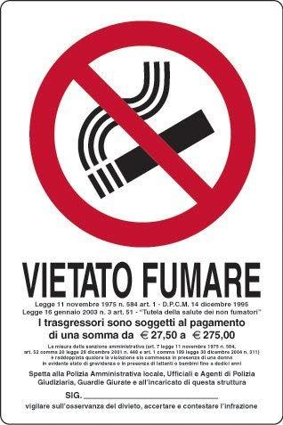 Cartellonistica Schild Aluminium 21 x 16 cm - Fumare - Legge 11 November 1975, Nr. 584