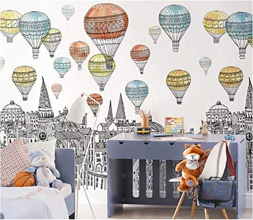Wandaufkleber Originalgebäude 3D Cartoon Wandbild Feuerballon Kinder Babyzimmer Kindergarten Wallpaper 3D Cartoon Wallpaper Aufkleber-300Cmx210Cm
