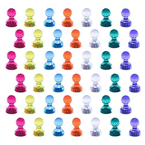 42 piezas Imanes De Nevera, Pizarra Blanca Pernos de empuje magnéticos fuertes para tablero de borrado en seco Mapa de refrigerador surtido de color (42)